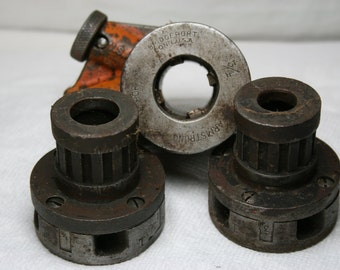 Vintage Armstrong Industrial Pipe Threading Rachet and Die Assemblies