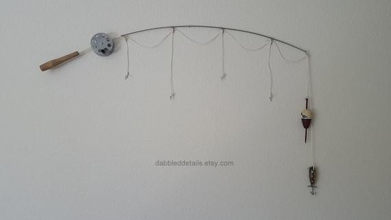 Fishing Rod Pole Frame - Silver Pole  - No Photo Frames - 4 Strings Plus Bobber(s)/Lure(s)