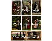 Printable Romance Postcards, Victorian Love Postcards, Couples, Instant Download, 300 dpi, Digital Scrapbooks, Valentine Card Supply