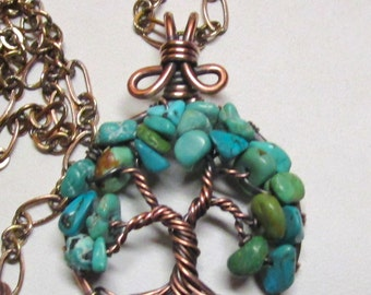 Little Turqoise Tree of Life Pendant, Turquoise Wire Wrapped Tree of Life, Antiqued Copper & Turquoise Tree of Life