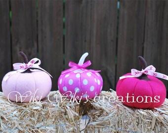 Breast Cancer Small Plush Pink Pumpkin