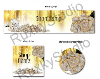 Shop Banner Set shop icon,cover/banner,avatar/profile picture -crystals,jewelry
