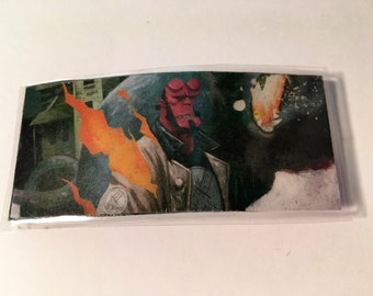 Upcycled - Hellboy - Hair Clip - Barrette - Comic Con - Fashion - Laminated - Fan - Red