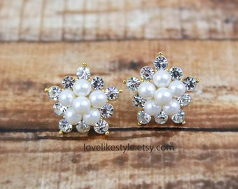 Ivory Pearl and Rhinestone Studs Earrings, Peacl Cluster Studs Earrings, Bridal Pearl Earrings, Bridesmaid Pearl Earrings