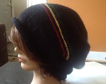 Black knit slouch tam