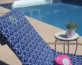 Beach LOUNGE CHAIR COVER made of velour cotton terry with side pocket
