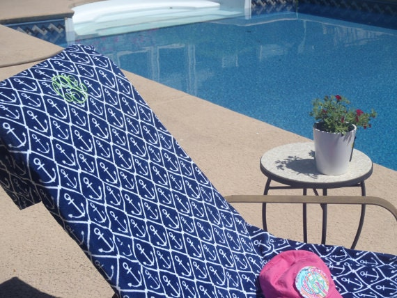 Beach LOUNGE CHAIR COVER made of velour cotton terry with side