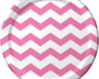 """Paper Plates 9 """"  Chevron Hot Pink Stripe Compostable Sustainable Eco Friendly Birthday Party Wedding Bridal Shower Baby Shower"""