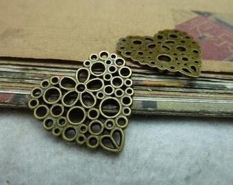 30pcs 24*25mm antique bronze love charms pendant C7289