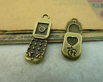 30pcs 26x8mm antique bronze cellphone charms pendant C3984