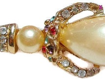 "Art Deco Brooch Pin Jelly Belly White Stone Colored Rhinestones Figure Design 1 3/4"" Vintage"