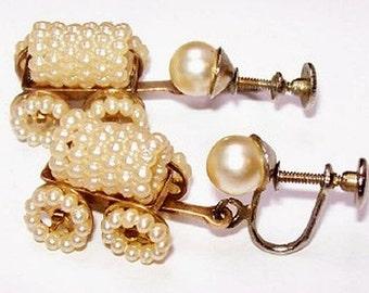 Covered Wagon Earrings Screw Ons Seed Pearls Gold Metal 1 1/4' Pioneer Western Vintage