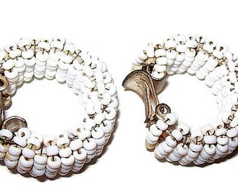 Miriam Haskell Earrings White Seed Beads Pin Wired Signed Pat Pend Clip Ons 1940s-50s 1 1/4""