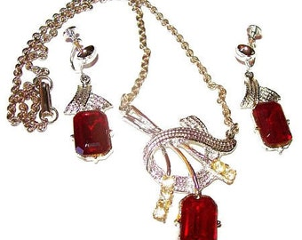 Red Rhinestone Necklace Earring Demi Set Glamour Silver Metal Festive Vintage