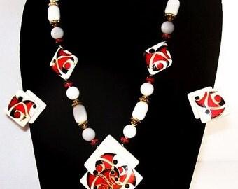 Porcelain Necklace Earring Set Signed Japan Red White Black Gold Metal Trim Summer Boho Vintage