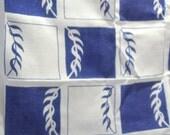 Vintage Pure Linen Square Tablecloth Nautical Cobalt Royal Blue White Sea Grass Check Floral print Nantucket Beach Cottage Lake House Style