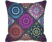 READY MADE Decorative Throw Pillow Covers 18 x 18 inch Boho Pillow Colorful Bohemian 18x18 Accent Pillow blue purple orange zipper