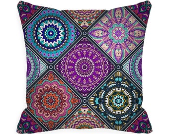 READY MADE Decorative Throw Pillow Covers 18 x 18 inch Boho Pillow Colorful Bohemian 18x18 Accent Pillow blue purple orange zipper