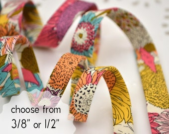 """colourful flower garden - double fold, bias tape - 3 yards, CHOOSE 3/8"""" or 1/2"""" wide"""