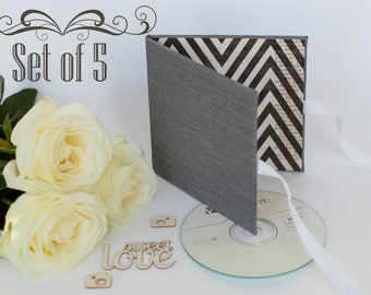 SET of 5 - Single CD case DVD packaging for photographer - linen cover - disc holder - folio - dark grey case for wedding photo black white