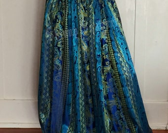 Stunning royal blue and teal green harem pants -double loons