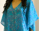 Blue Silk Kaftan, Caftan, Cover up, Summer dress