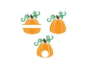 Monogram Pumpkin SVG - Pumpkin JPEG - Pumpkin PNG - Halloween Cut Files - Split Halloween Monogram - Instant Download