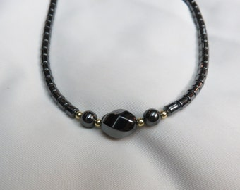Stunning Bold Unisex Hematite Necklace 19 Inch with a Sturdy Magnetic Clasp