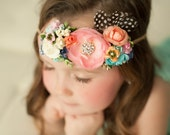Handmade Couture Flower Crown Tie Back Headband, Flowergirl Headband, Floral Headpiece, Boho Chic - Rainbow - Fits all Sizes