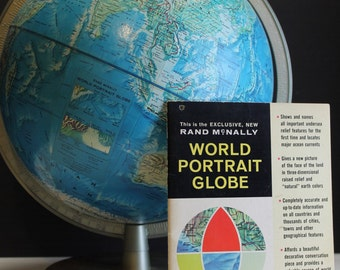 "Vintage 1964 Rand McNally World Portrait Globe // 12"" // With Instruction Book"