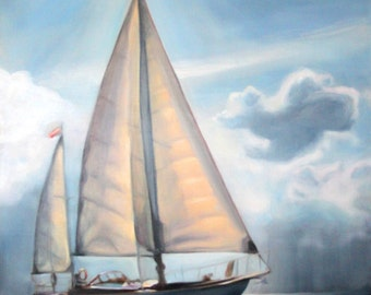 "Original Oil Painting: Yawl Sailboat amid sun and clouds ""Weatherly"""