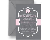 Pink & Grey Elephant Baby Shower Invitation Girls, Joyful Sprinkle Invite, Cute Girls Jungle Party Printable or Printed Invite (PELEC)
