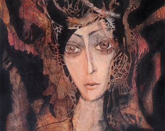 "Original painting / Acrylics on canvas panel/ 10"" x 12"" /Surrealism / Black Autumn"
