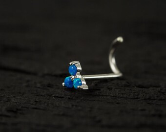 Trinity Skyblue Opal sterling silver nose screw / nose stud / nose ring
