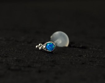 Sky blue Opal in teardrop shape casting with trinity ball push in 16g bio flexible tragus /forward helix / lip / medusa piercing (1pc)