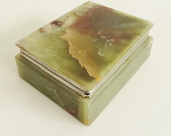 VARIEGATED ONYX BOX - Natural Stone Trinket Box with Metal Hinged Frame - Warm Greens & Browns