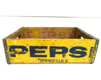 Vintage Pepsi Crate Yellow 1960s Wood Crate