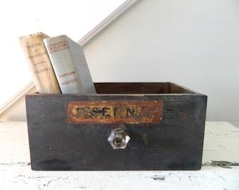 Vintage Wood Box Drawer Glass Knob