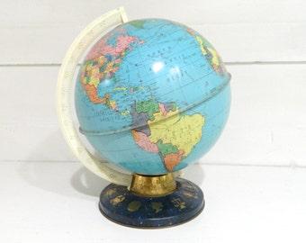 Vintage Tin Globe Zodiac Metal Base