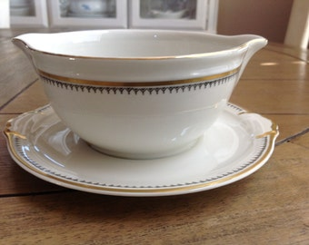 Bavaria Germany Attached Sauce Dish Gravy Boat with Black and Gold Trim