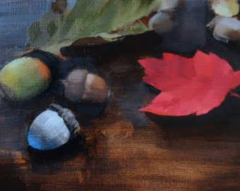 "Archival 8"" x 12"" Art Print / Free Shipping / Acorns and Fall Leaves (no.144) Oil Painting Realism Fall Autumn Still Life Dark"