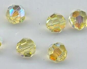 24 orgeous Swarovski crystals - art 5000 - 6 mm - jonquil AB
