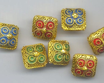 Seven unusual and unusually beautiful filigree cloisonne beads - three colors - 15.5 mm pillows