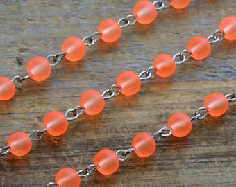 Glass Bead Chain Round Bright ORANGE Glass Bead Necklace Chain 6mm Glass Bead on Silver Wire Necklace Bracelet Chain Jewelry Making Supplies