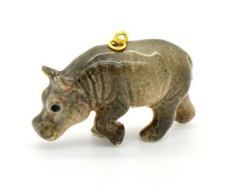 1 - Porcelain Hippopotamus Pendant Hand Painted Glaze Ceramic Animal Small Ceramic Hippo Bead Jewelry Supplies (CA059)