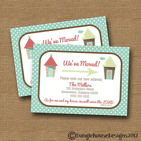 New Address Card | We've Moved | Change of Address | DIY PRINTABLE | Scripture, Bible Verse Card | Polka Dots | (Choose Your House Graphics)