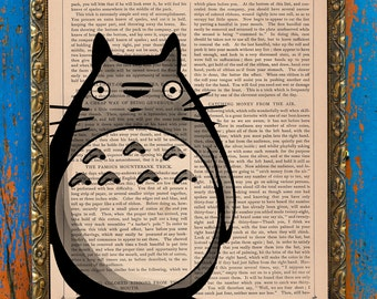 My Neighbor Totoro Studio Ghibli Print on an Antique Unframed Upcycled Bookpage