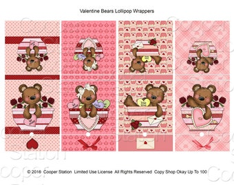 Printable Digital Valentine Lollipop Covers 002