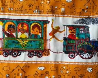 Retro Handmade Train Wall Hanging with Embroidered Details- People & Cultures of the World Kid's Room Nursery Decor Colorful Monkey Weird
