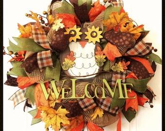 Fall Owl Wreath - Deco Mesh Fall Wreath - Autumn Wreath - Harvest Wreath - Owl Decor - Front Door Wreath - Welcome Sign